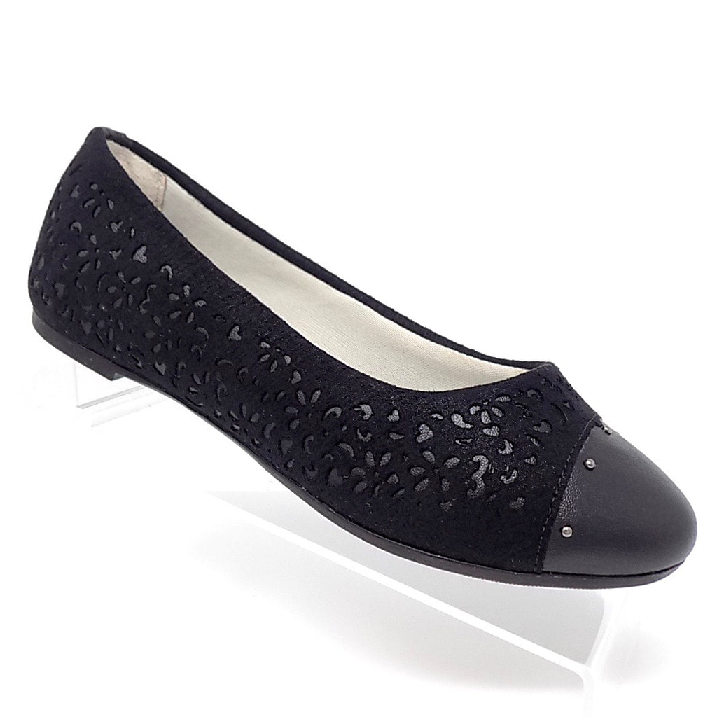 Cutout Leather Black Flat