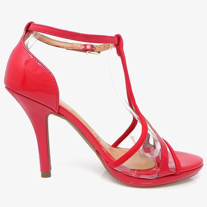 Clear Vinyl Red Heeled Ankle Buckle Sandal