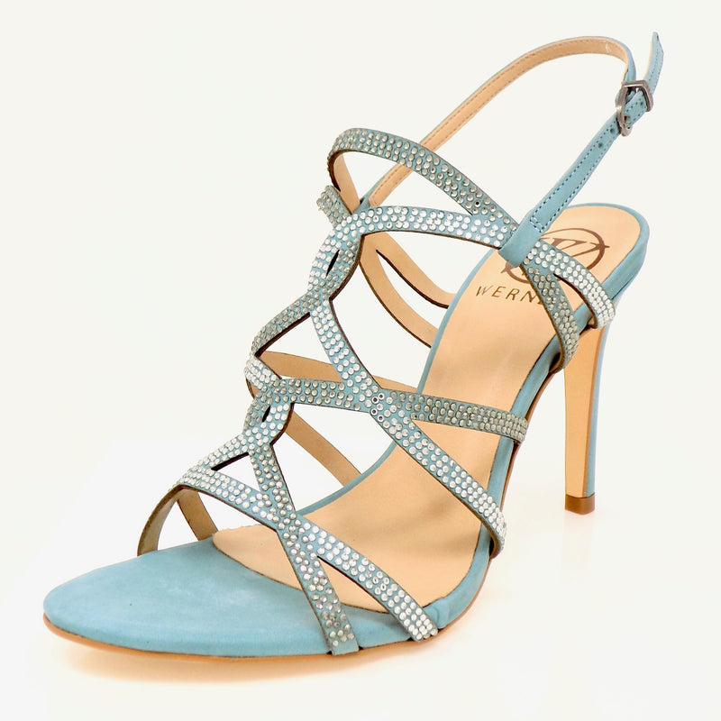 Embellished Bluestone Nubuck High Heeled Sandal