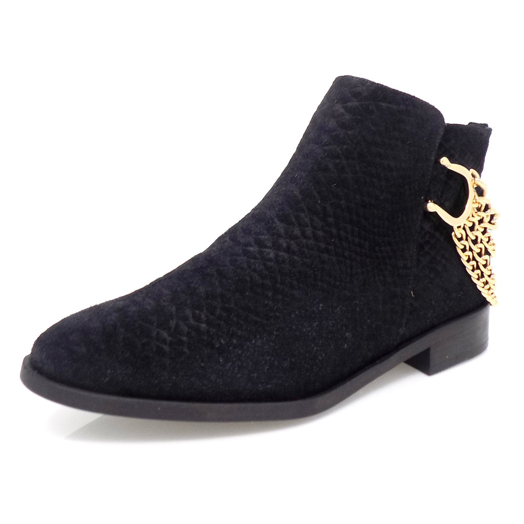 Black Snakeskin Nubuck Flat Ankle Boot with Golden Chains - ONE55 by Werner