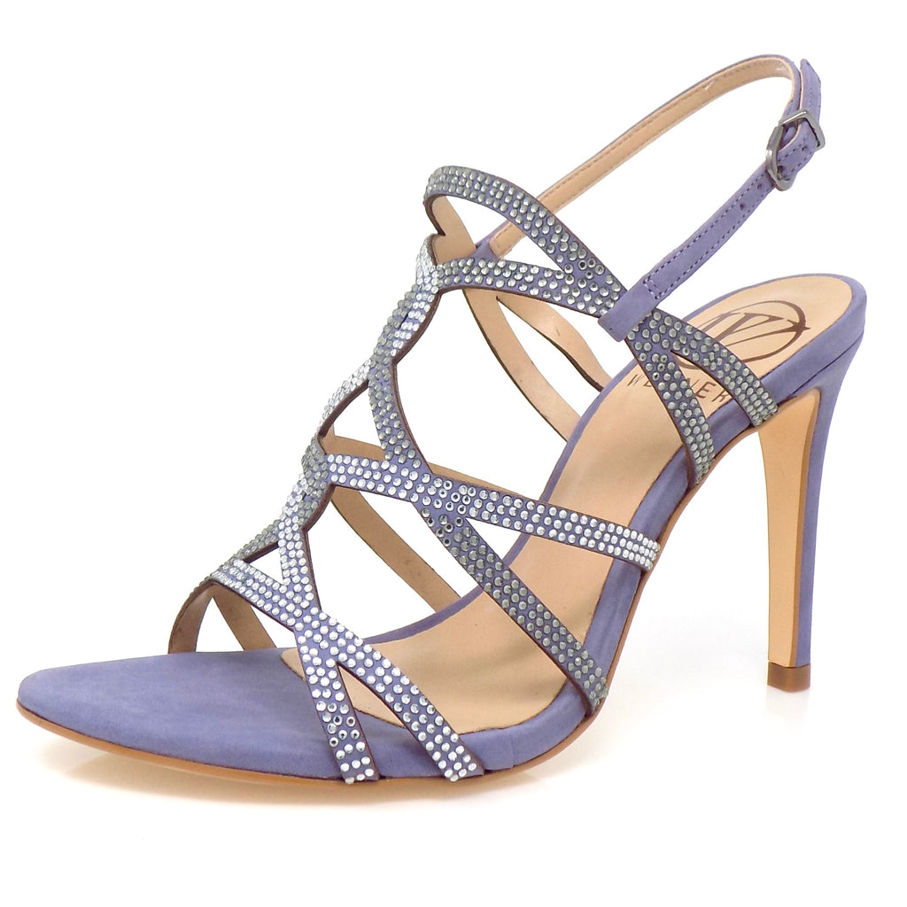 Embellished Grapeade Nubuck High Heeled Sandal - ONE55 by Werner