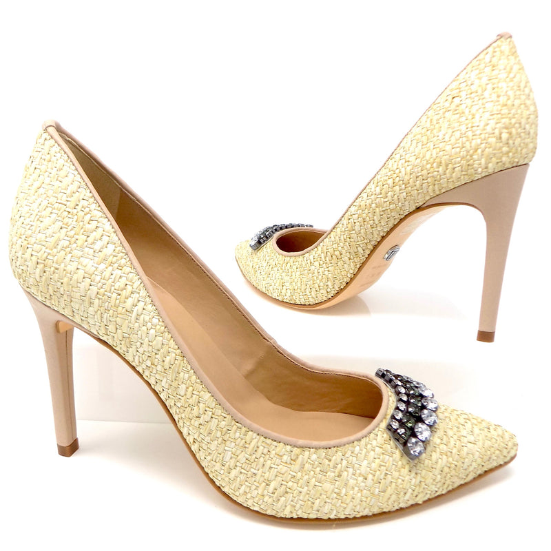 Embellished Leather and Natural Fiber Vanilla Pump - ONE55 by Werner
