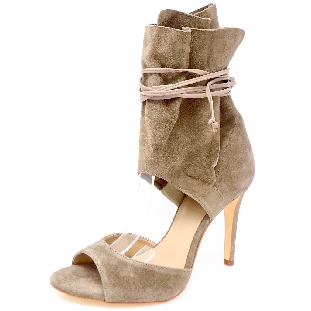 Taupe Ankle Buckle Open Toe Suede Leather Sandal - ONE55 by Werner