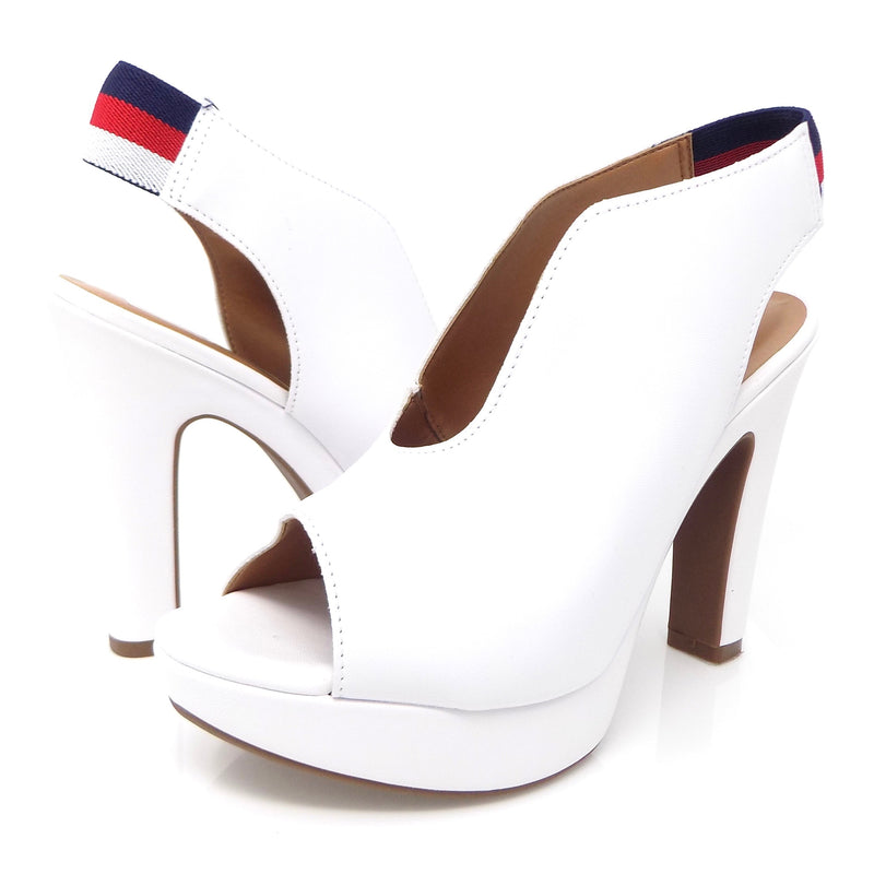 Punk White Leather Peep Toe Slingback Platform