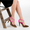 Leopard Print Mary Janes with Pink Crossed Straps