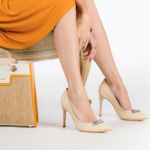 Embellished Leather and Natural Fiber Vanilla Pump