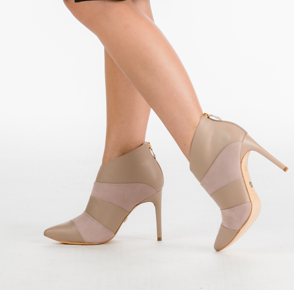 Beige Leather and Nubuck Ankle Boot