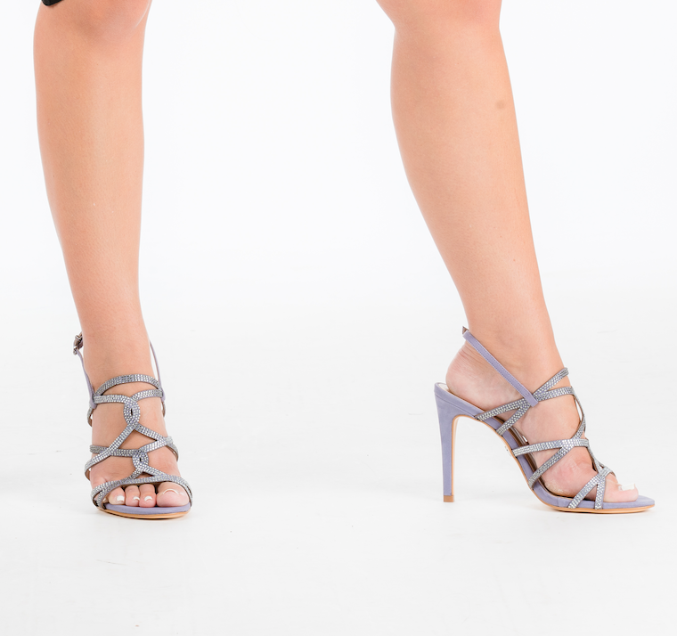 Embellished Grapeade Nubuck High Heeled Sandal