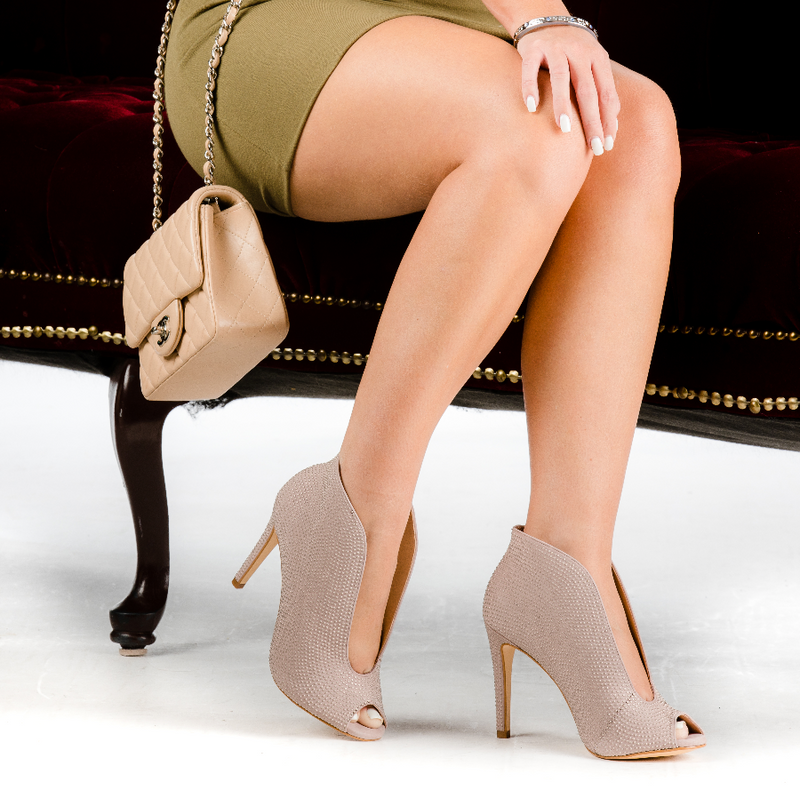 Beige Nubuck Open Toe Ankle Boots Stiletto Heel with Rhinestones