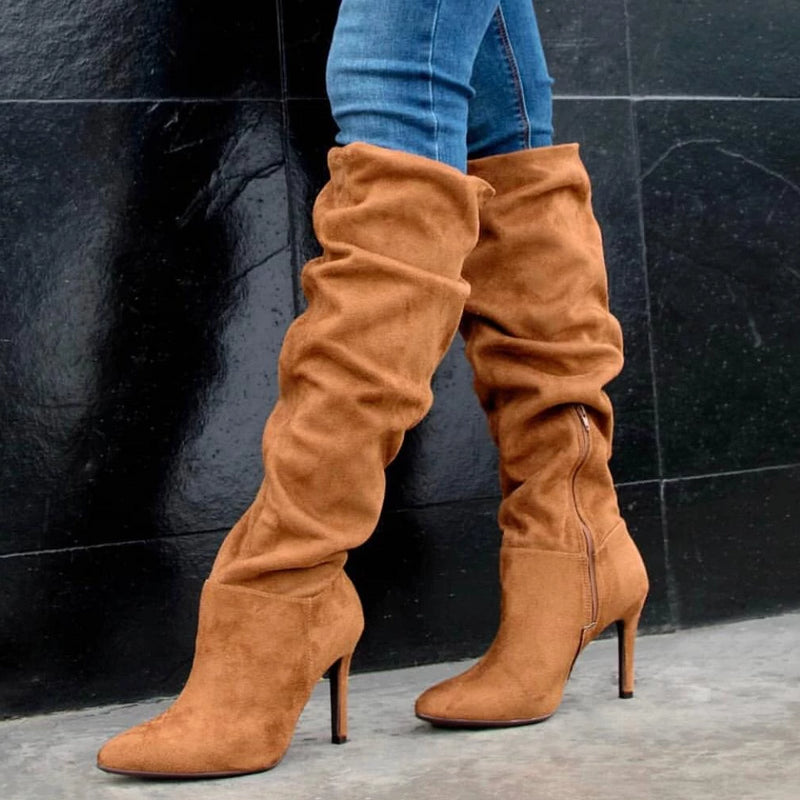 Slouchy Stretch Caramel Boots - ONE55 by Vizzano