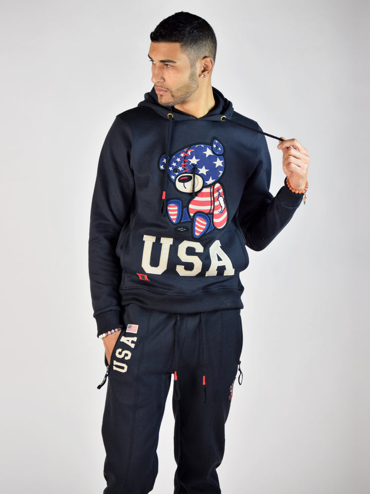 USA Teddy Grind Global Hoodie (NAVY)
