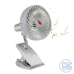 Battery Operated Clip on Mini Desk, Car or Baby Fan Clip, Handheld Outdoor, 3 Speeds, USB or Battery