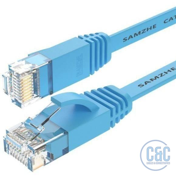 CAT6 Flat Ethernet Cable 250MHz 1000Mbps RJ45 Networking Ethernet Cord LAN Cable Router Laptop 1m