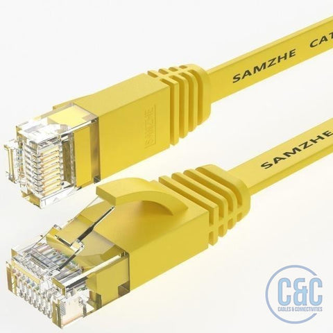 CAT6 Flat Ethernet Cable 250MHz 1000Mbps RJ45 Networking Ethernet Cord LAN Cable Router Laptop 1m - C & C