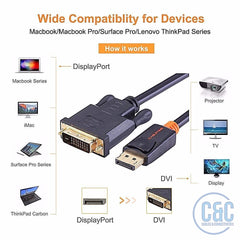 DisplayPort to DVI Coaxial Cable Male to Male DP to DVI Adapter 1080P Full HD 3D