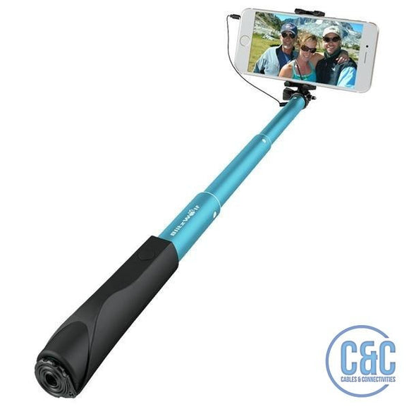 Extendable Wired Selfie Stick Monopod For iPhone , Samsung Galaxy, Smartphone, And More - C & C