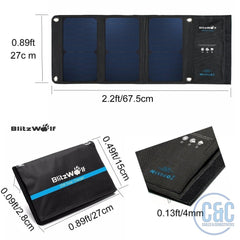 Solar Charger Portable Dual USB Port SunPower Battery Charger for All Cellphone, UP TO  28W/3.8A% Over 23% SunPower Conversion