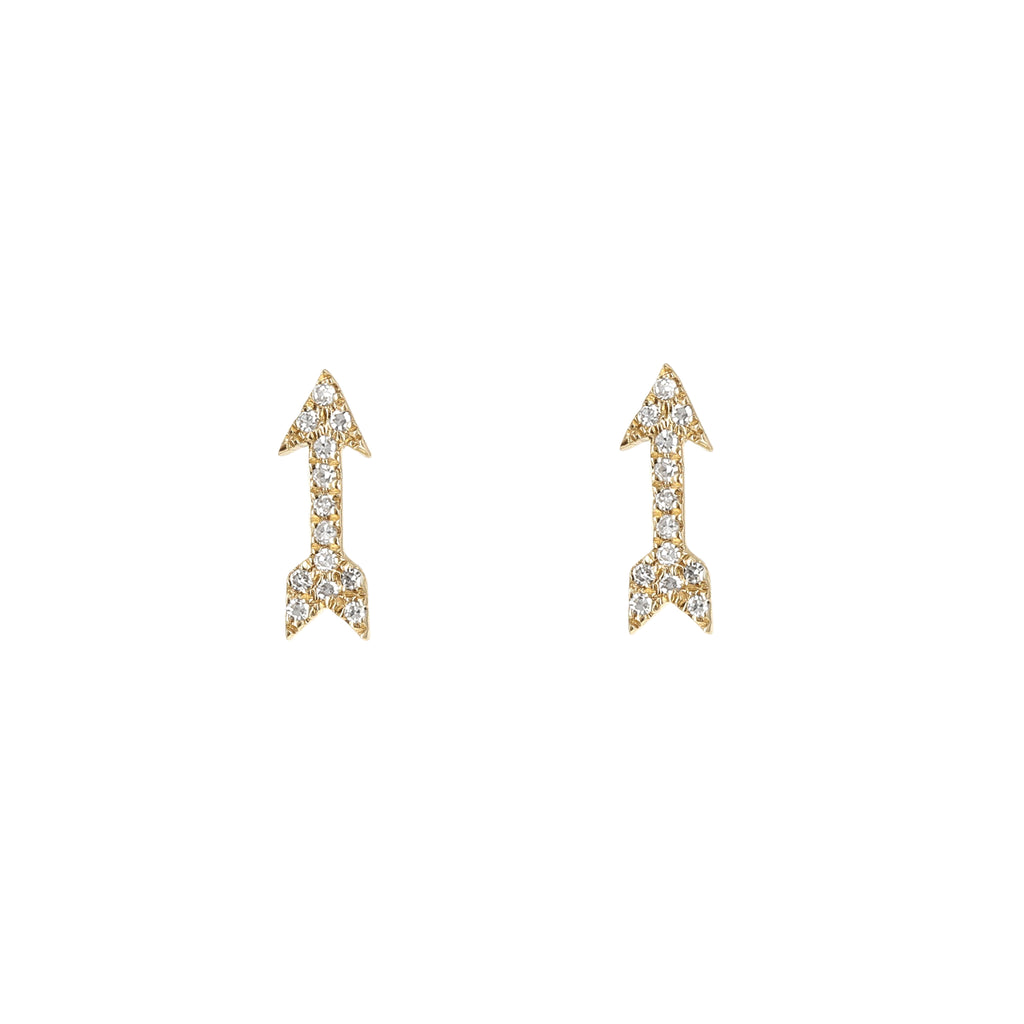 Diamond Dainty Gold Arrow Stud Earrings