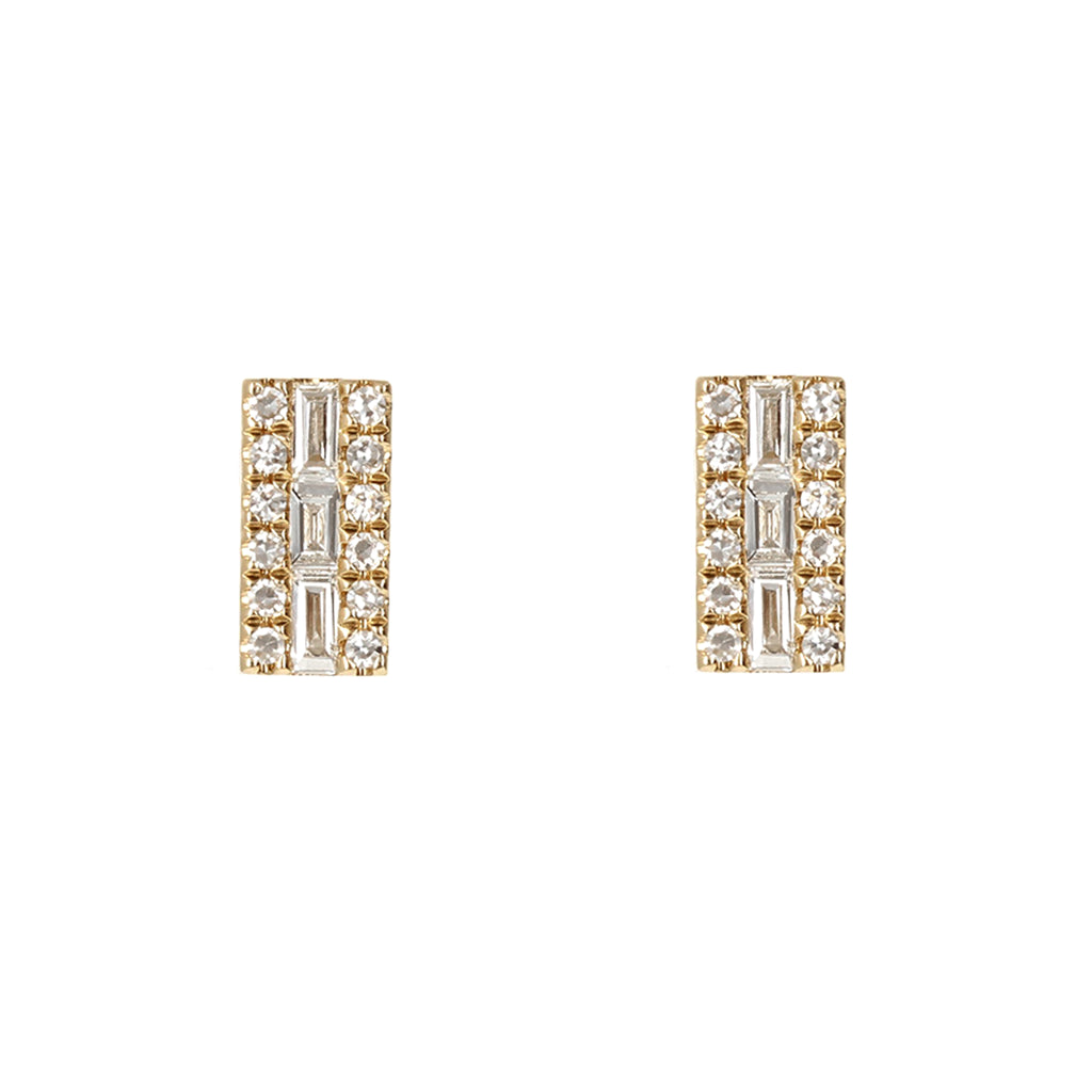 Diamond Baguette Gold Bar Earrings