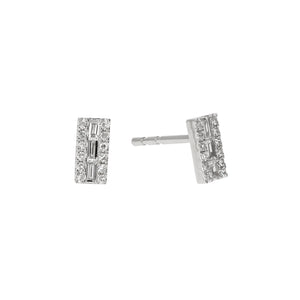 Load image into Gallery viewer, White Gold & Diamond Small Bar Stud Earrings - Alexandra Marks Jewelry