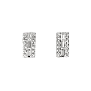 Diamond Bar Stud Earrings in 14kt White Gold - Alexandra Marks Jewelry