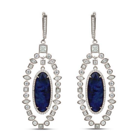 Load image into Gallery viewer, Ornate Blue Lapis Earrings