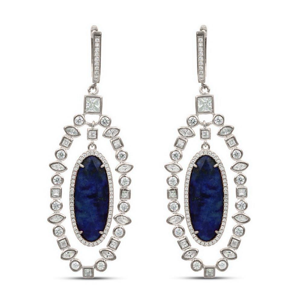 Alexandra Marks | Gemstone Silver CZ Statement Earrings