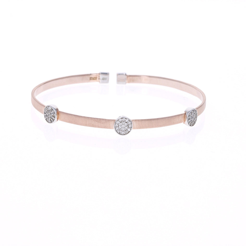 Round Triple Station Rose Wire Bracelet