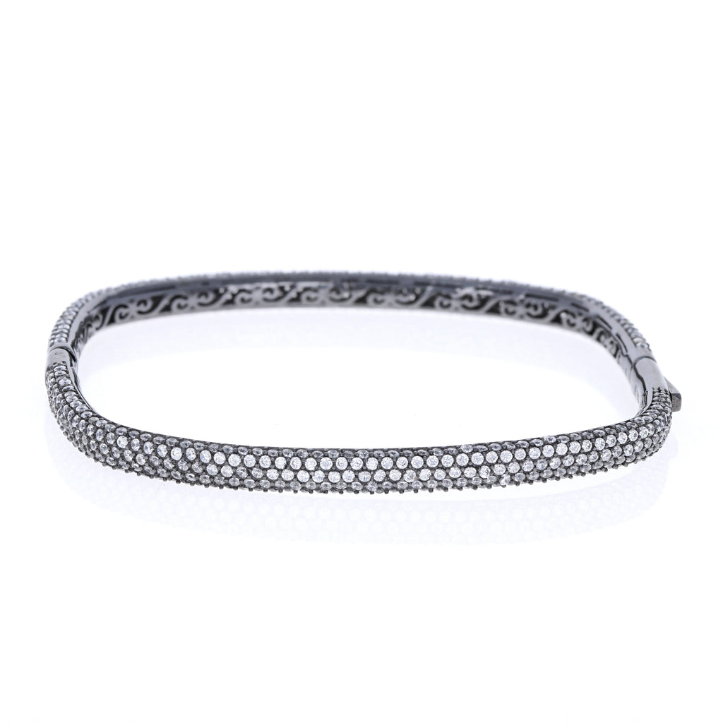 Black Pave Square Bangle Bracelet