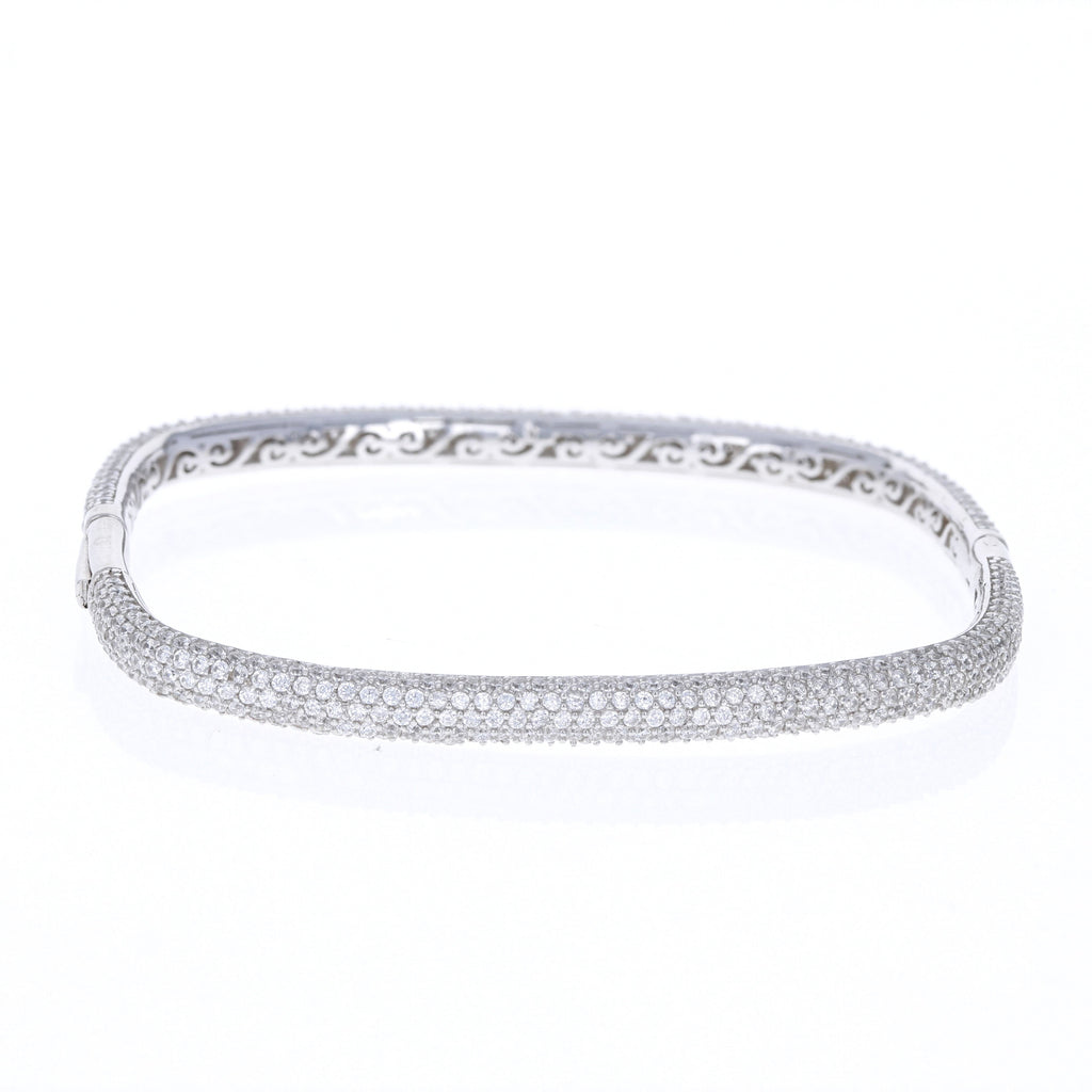 Silver Pave Square Bangle Bracelet