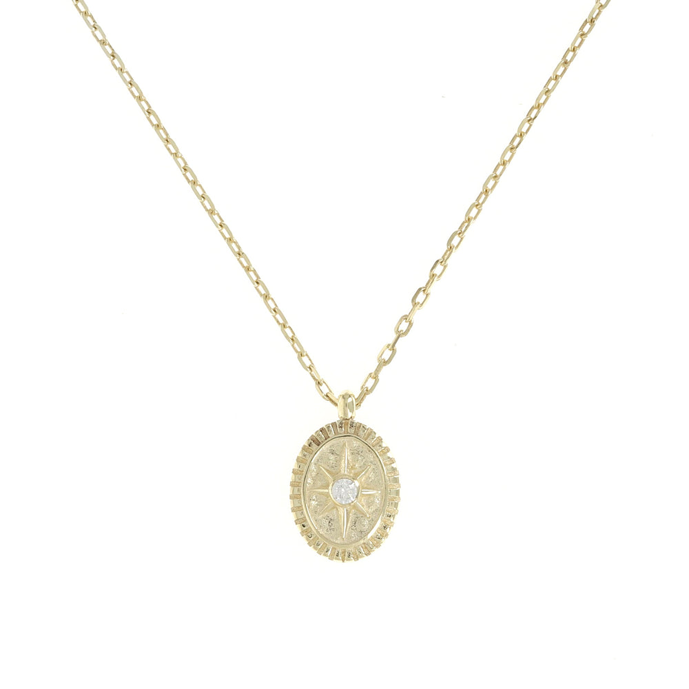 Tiny Gold Compass Coin Charm Necklace - Alexandra Marks Jewelry