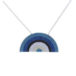 Blue Ombre' Cz Rainbow Shaped Necklace in Sterling Silver