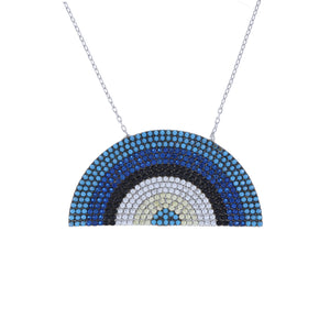 Load image into Gallery viewer, Blue Rainbow Cz Sterling Silver Necklace - Alexandra Marks Jewelry