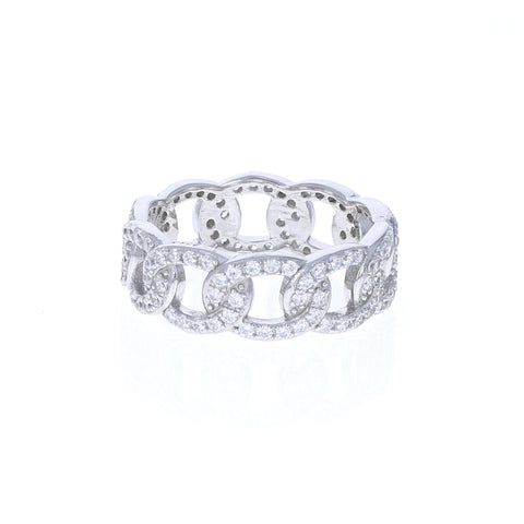 Sterling Silver Chain Link eternity band with cubic zirconia stones from Alexandra Marks Jewelry