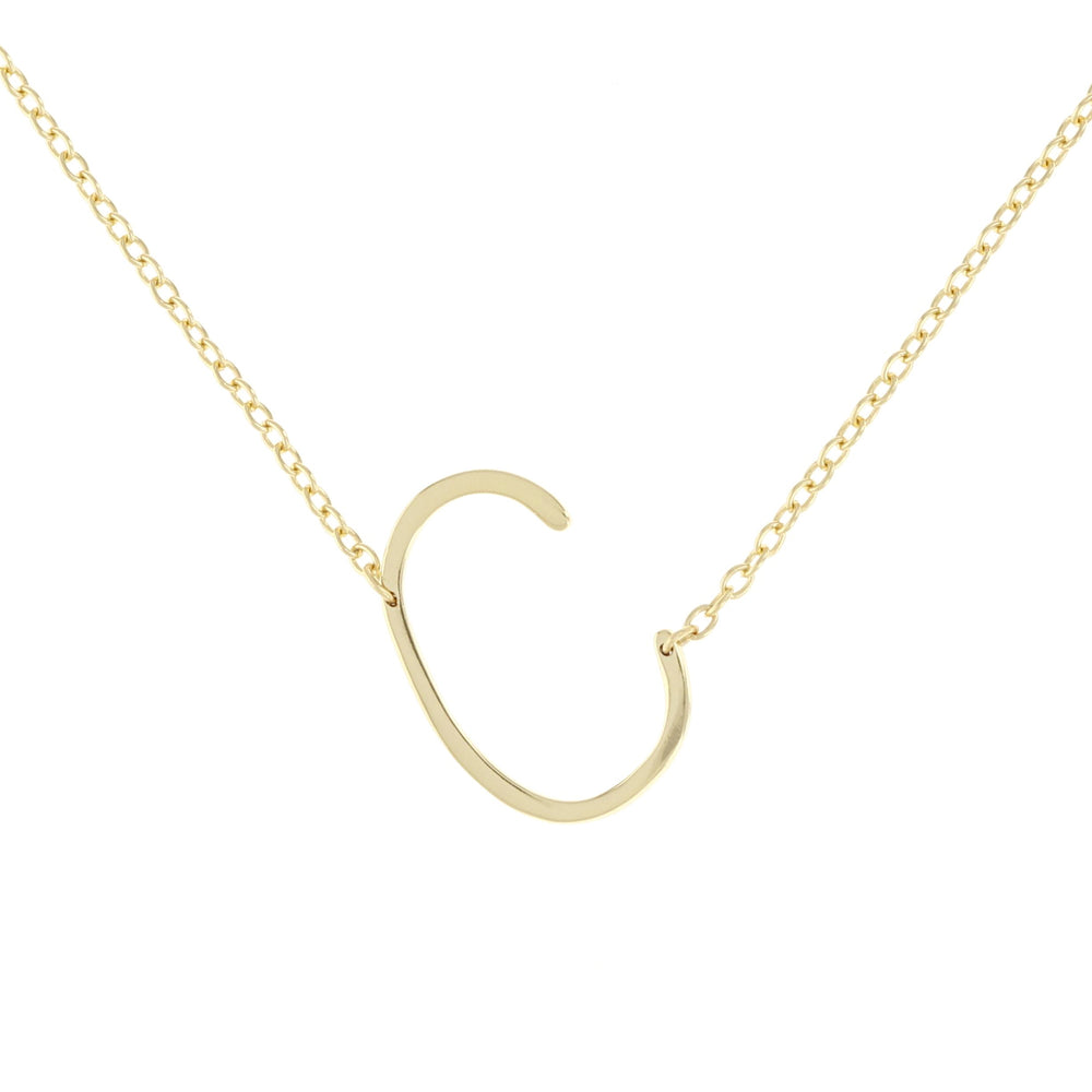 Sideways Letter C Initial Necklace in Gold - Alexandra Marks Jewelry