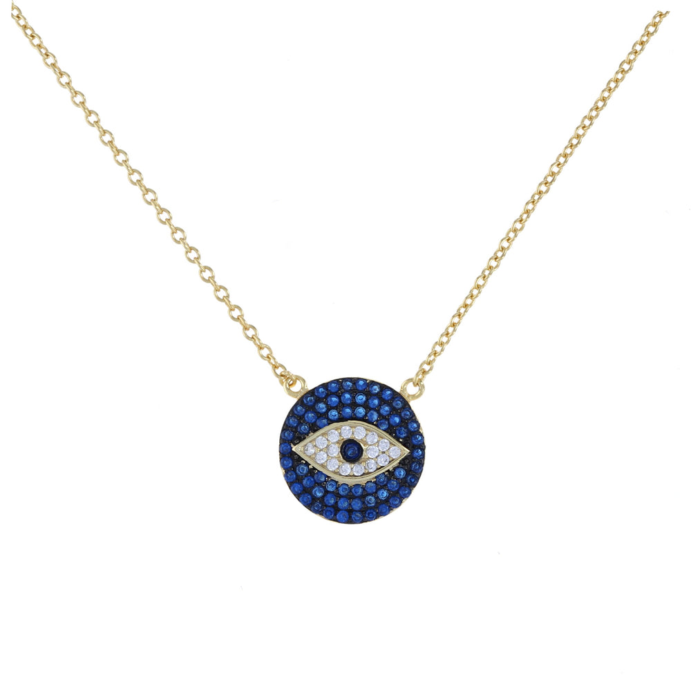 Blue pave' cz evil eye disc necklace in gold