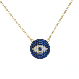 18 inch cz evil eye disc necklace in gold