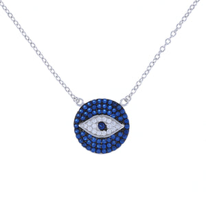 Silver blue cz evil eye disc necklace