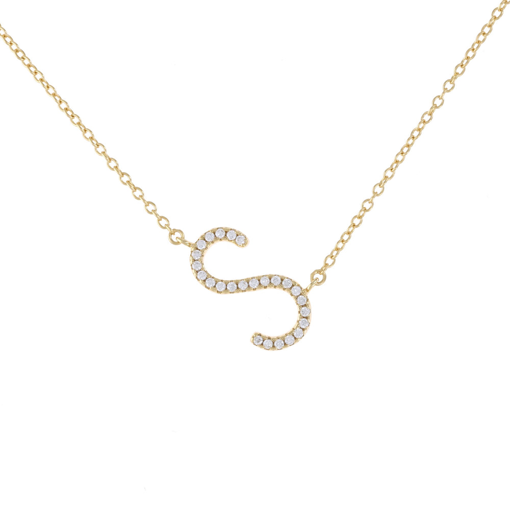 Gold cz letter S initial necklace - Alexandra Marks Jewelry