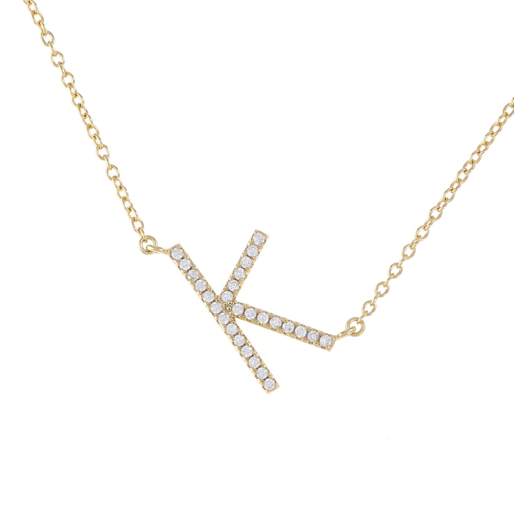 Sideways Cz Letter K initial necklace in gold