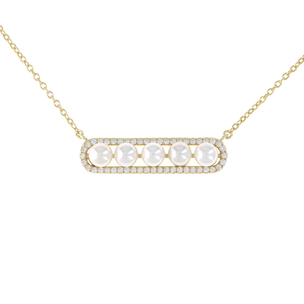 Alexandra Marks | Pearl Bar Necklace in Gold Plated Silver