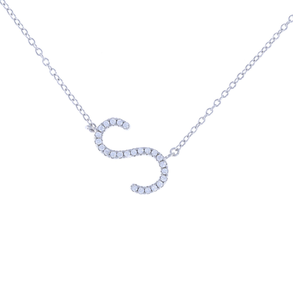 Diamond sideways letter S initial necklace in sterling silver