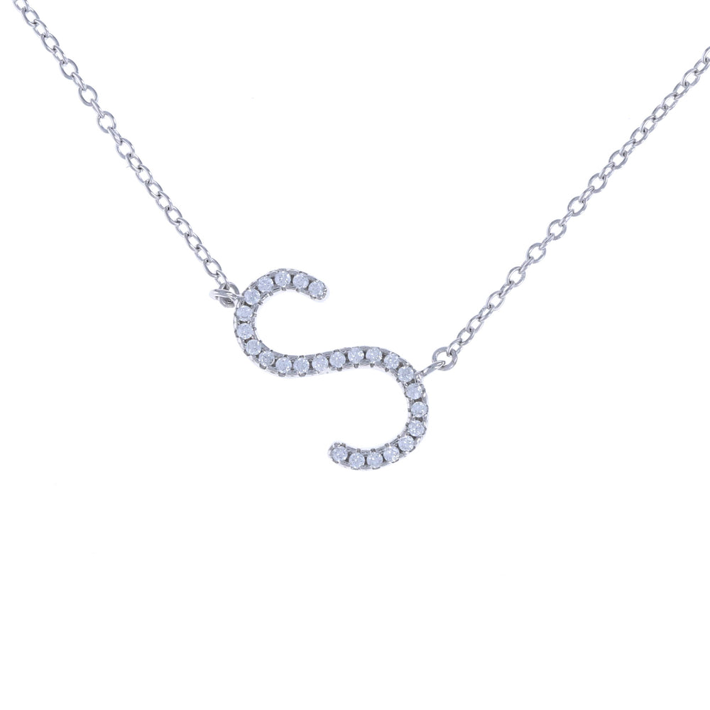 Sideways cz letter S initial necklace in sterling silver