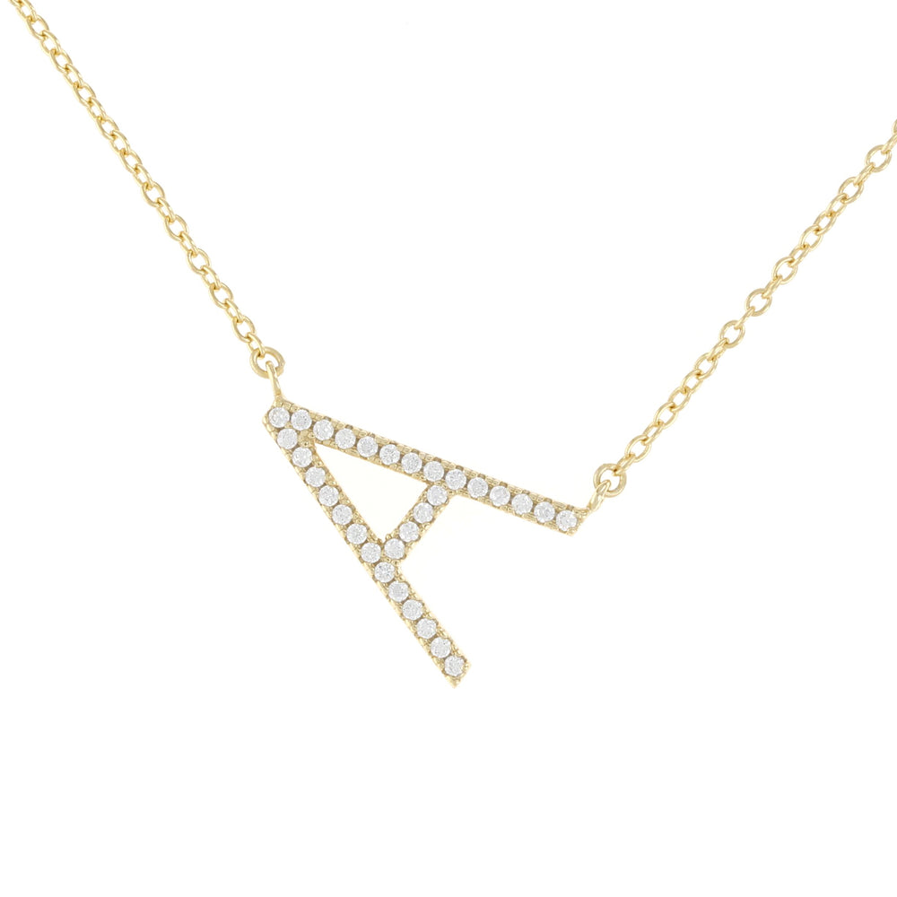 Load image into Gallery viewer, Sideways Gold Letter A Cz Initial Necklace  Alexandra Marks Jewelry