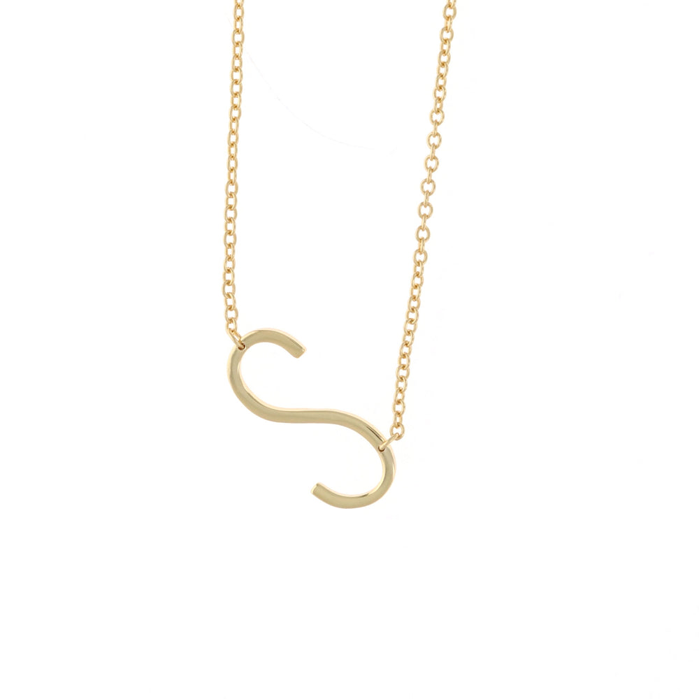 Gold Letter S Sideways Initial Necklace