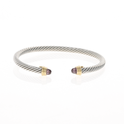Thin Amethsyt Cable Bracelet
