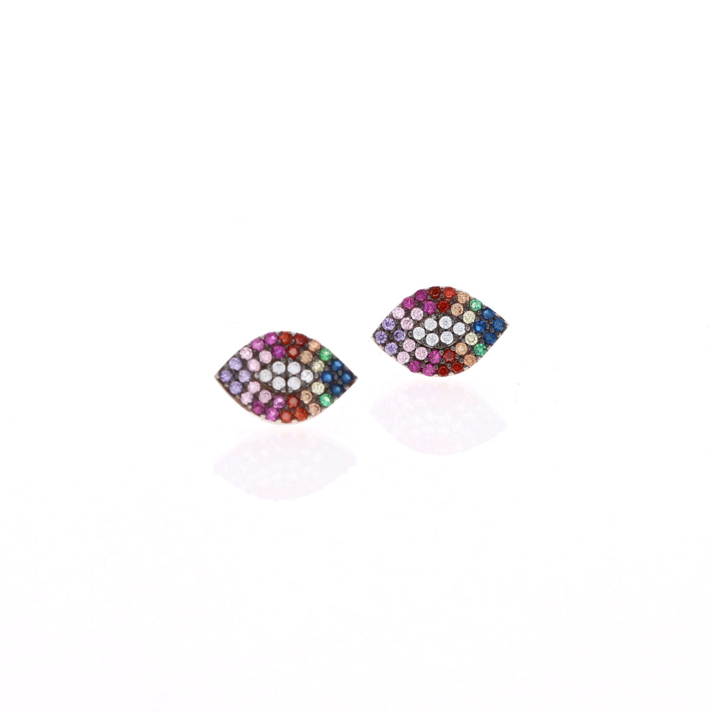 East West Rainbow Stud Earrings
