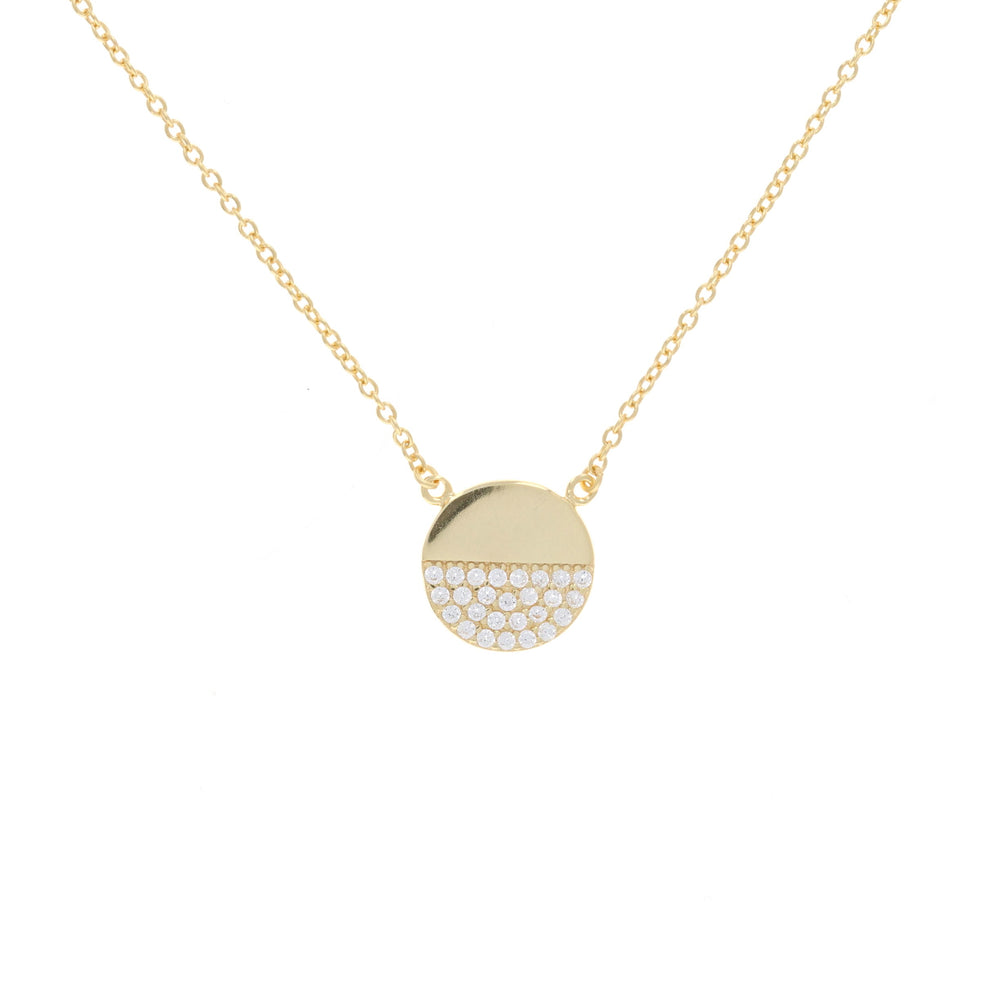 Half Pave Disc Necklace