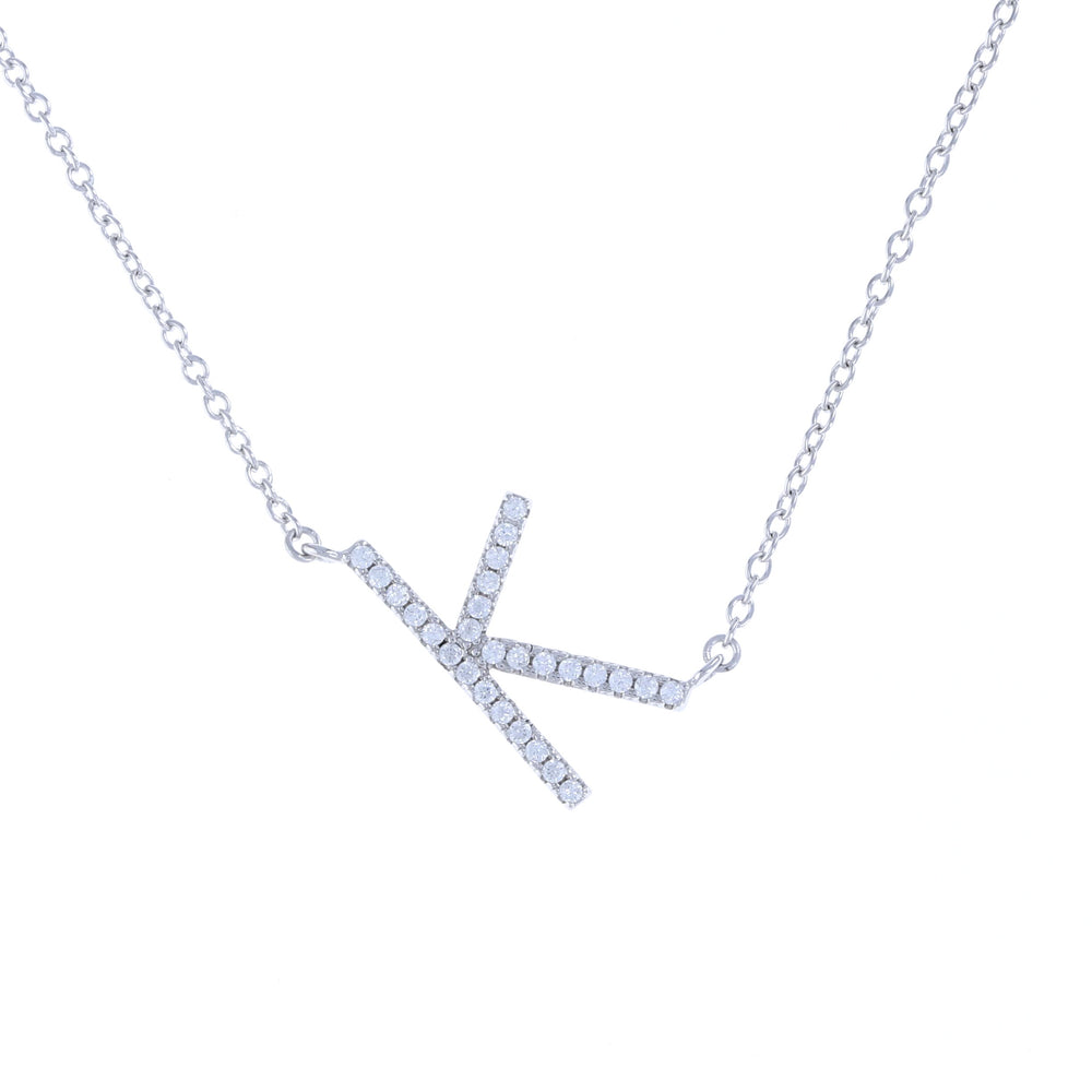 Cz Letter K initial necklace in silver