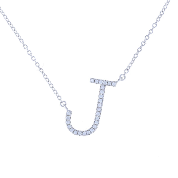 Letter J necklace in sterling silver